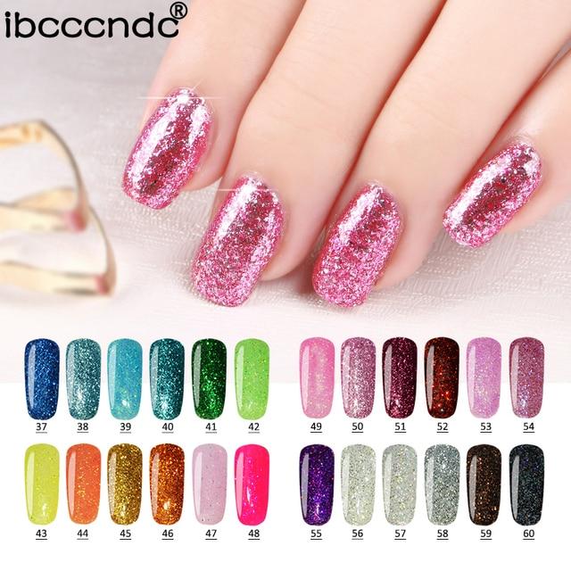 Ibcccndc 24 Colors Uv Shining Glitter Gel Nail Polish Shimmer Color Coat Soak Off Varnish