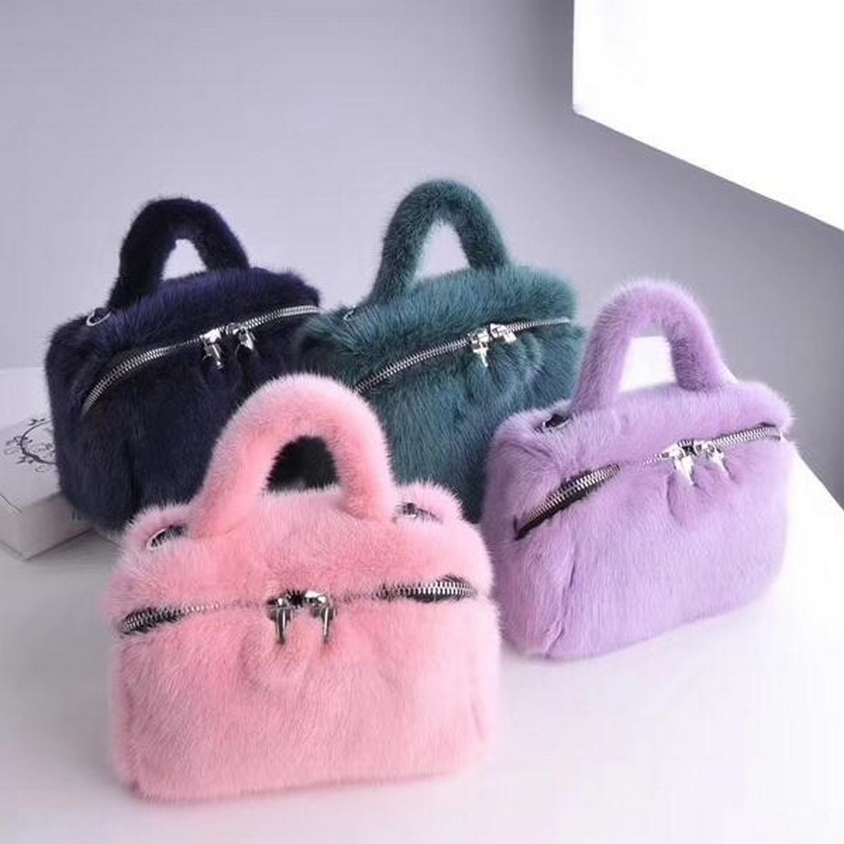 2019 Women Luxury Genuine Mink Fur Handbag Blue Classic Real Fur Bags Lady Super Fashion Mink