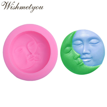 WISHMETYOU Sun Moon Face Silicone Soap Mold Love Cake Decorating Tools Craft Molds Diy Handmade Round Kiss Mask Moulds New