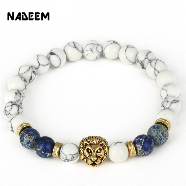 Drop Shipping 8mm Lab White Howlite Stone Bead Bracelet Antique Gold Color Lion Head Charm Yoga Bracelet High Grade Mens Jewelry