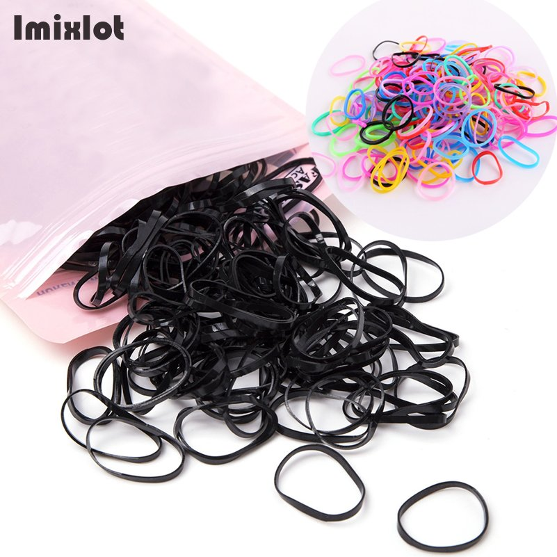 1 Pack Multicolor/Black Color Rubber Rope Ponytail Holder Hair Elastic Braids Plaits Hair Bands Ties Black Hair Accessories
