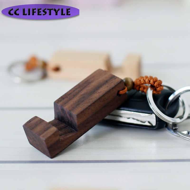 Wooden Mobile Phone Holder Creative Personality Small Portable Carrying Wooden Phone Holder Key Chain Wholesale Custom Tableware пуф wooden круглый белый