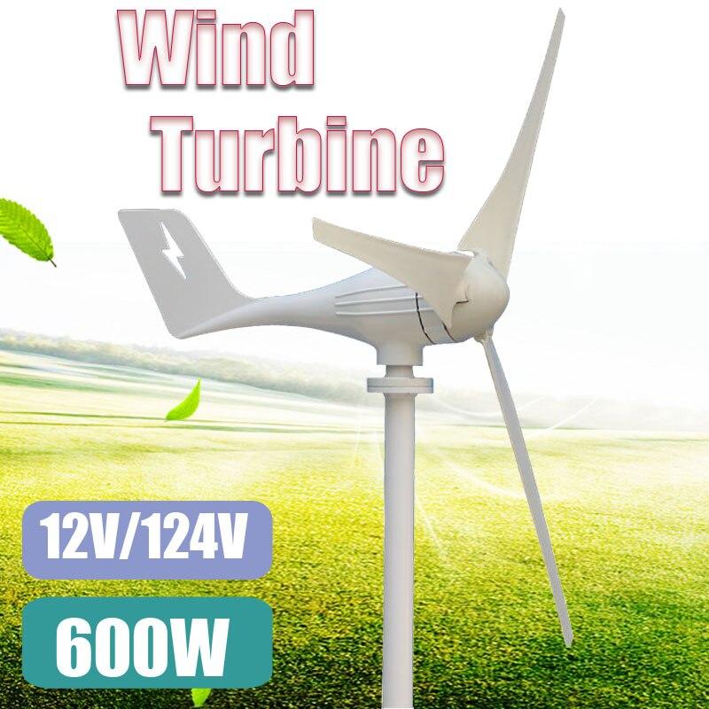 600 w 12 v 24 Volts 3 Fibers De Nylon Lames Éoliennes Horizontales Générateur de Moulin À Vent Chargeur D'énergie Tension kit Maison