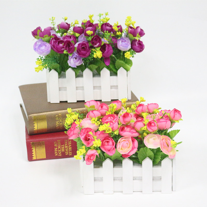 Flone Wedding Decor Artificial Tea Rose Simulation Artificial Flowers Small Potted Plant Fake Rose Set