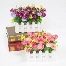 Flone Свадебный декор искусственная чайная роза Искусственные цветы небольшой горшечных растений поддельные Роза набор с белый забор