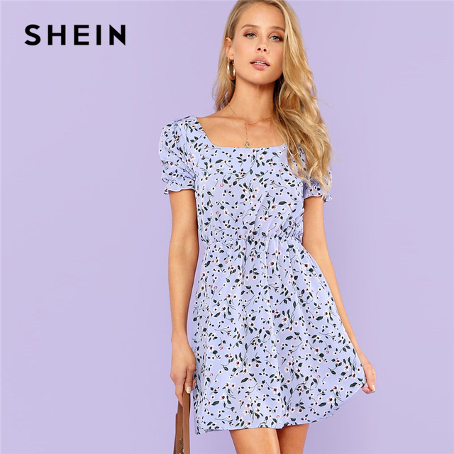 5e62c8e308d SHEIN Ruffle Cuff Calico Floral Print Dress Women Square Neck Short Sleeve  Short Dress 2018 Flounce Sleeve Beach Boho Dress