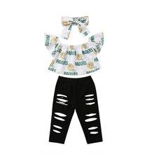 Новая летняя Милая одежда для малышей для девочек 3 шт. комплекты с открытыми плечами короткий рукав футболки с принтом топы+ рваные черные брюки+ повязка на голову