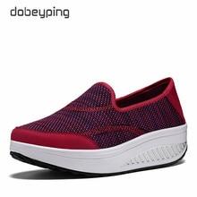 Kadın spor zayıflama ayakkabı örgü kumaş kadın loaferlar düz platformlar kadın ayakkabı rahat takozlar bayanlar ayakkabı yüksekliği artan