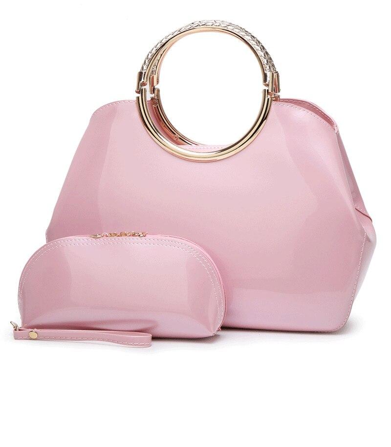 2pcs Women Handbags Set Luxury Desginer Patent Leather Ladies Tote Bag Dress Wedding Evening Handbag 8Colors Сумка