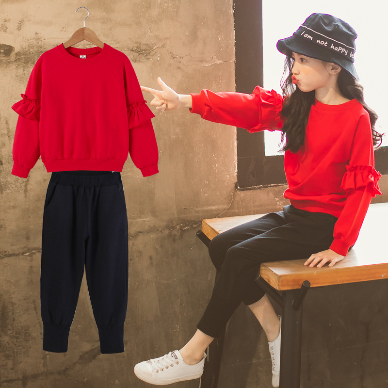 3-13Yrs Spring Autumn Children Clothing Sets Boys Girls Long Sleeve Red Sweaters+Pants Kids Clothes Sports Suit for Girls CC937