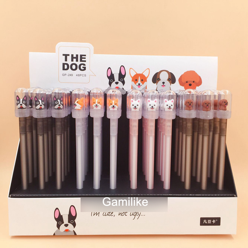 48Pcs/lot Novelty Cartoon Dog Black Gel Pen Cute Stationery for Student Writing Pens Gift School Office Supplies Wholesale