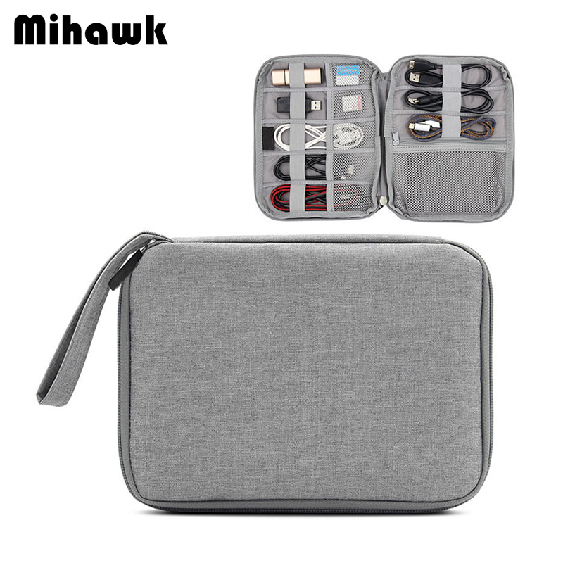 Mihawk Portable Men's Data Cable U Disk Storage Bags Multifunction Travel Accessories Office Pouch Organizer Supplies Products