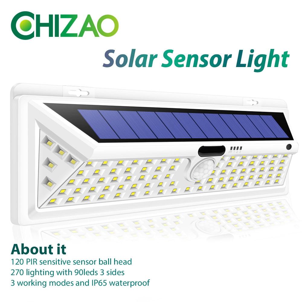 CHIZAO 90 LED Outdoor Solar Street Light Wireless Motion Sensor wall lamp Waterproof Lighting for Front Door Garden Patio etc. ...
