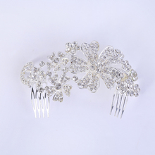 New Trendy Hair Jewelry Silver Crystal Flower Hair Combs And Clips Elegant Bridal Wedding Hair Accessories Bijoux Women's Tiaras
