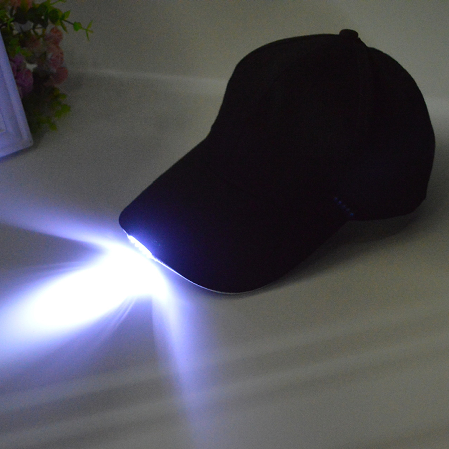 Gratis verzending Black LED zaklamp Hat Bike Cycling Caps Night Walking Hiking Fishing Hunting Hats