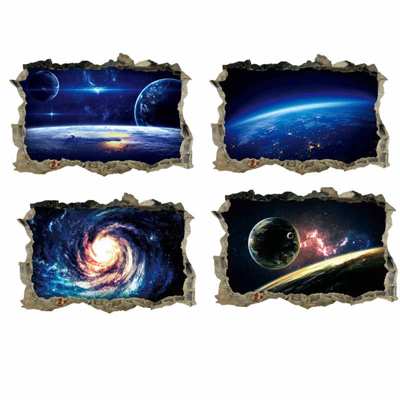 45*60cm Outer Space Planets 3D Wall Stickers Cosmic Galaxy Wall Decals for Kids Room Baby Bedroom Ceiling Floor Decoration