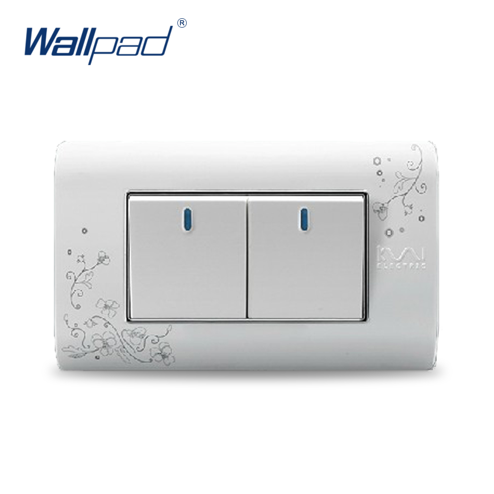 2018 Hot Sale 2 Gang 2 Way Wallpad Luxury Wall Switch Panel Light Switch C30-118 110~250V 2018 hot sale 6 pin multifunction socket wallpad luxury wall switch panel plug socket 118 72mm 10a 110 250v