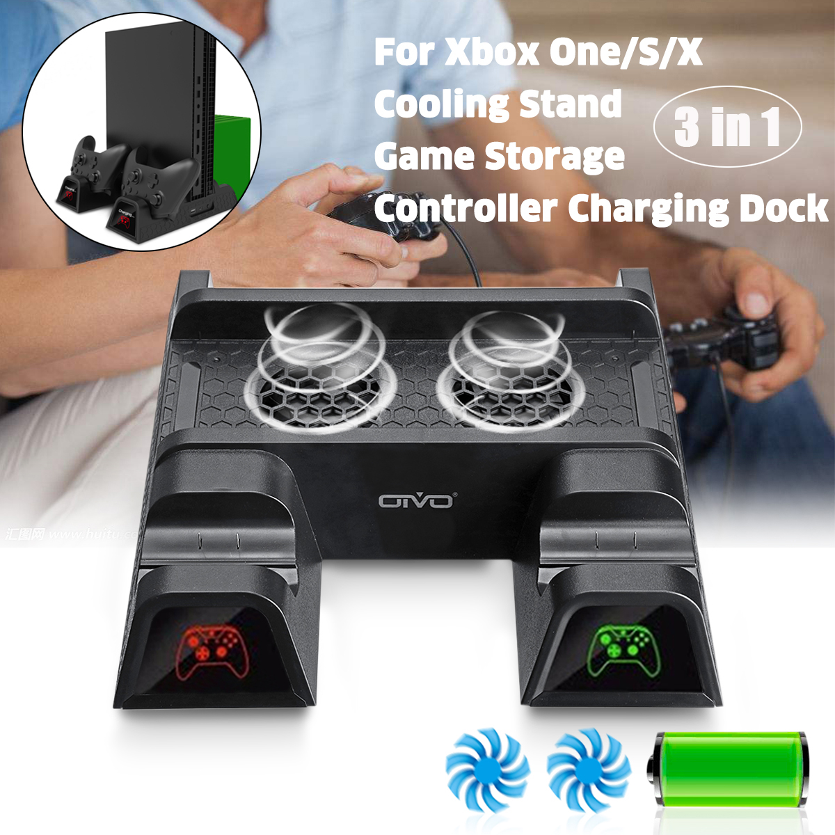 New 2 Game Charger 2 Cooling Fan Stand With 12 Game Storage Multi-functional Charge Cooler For XBOX ONE For XBOX ONE S/X project cars 2 collector s edition xbox one