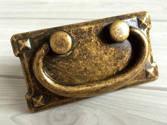 3 Vintage Style Dresser Pulls Drawer Pull Handles Antique Bronze Square Cabinet Door Handle Drop Bail Back Plate