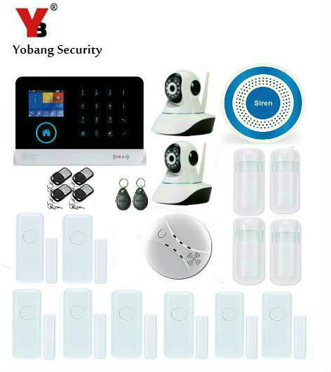 YobangSecurity Wireless Wifi Gsm Home Security Alarm System Kit with IP Camera Door Sensor Wireless Siren Smoke Fire Detector wireless alarm accessories glass vibration door pir siren smoke gas water sensor for home security wifi gsm sms alarm system