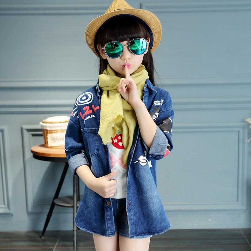 ФОТО Kid Girl Denim Jacket 2016 Spring Autumn Kid Fashion Trench Coat for Girl Slim Long Sections Trench Coat Girl Windbreaker Jacket
