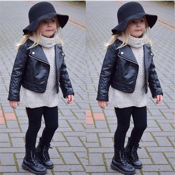 Fashion New Kids Girl Motorcycle PU Leather Jackets Spring Autumn Cool Black zipper PU Leather Kids Jackets Baby Girl Overcoat spring outfits for kids