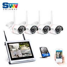 Plug And Play 4CH CCTV Wireless NVR Kit 12 Inch Screen P2P 960P HD WIFI Outdoor IP Camera IR Surveilance System 1TB HDD