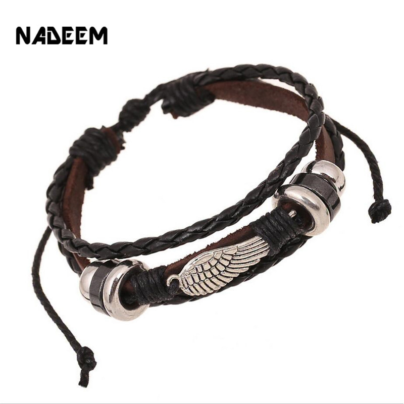 NADEEM Drop Shipping New Arrival Handmade Braid Genuine Leather Bracelet Wrap Leaf Charm Braided Leather Bracelet Men Women Gift
