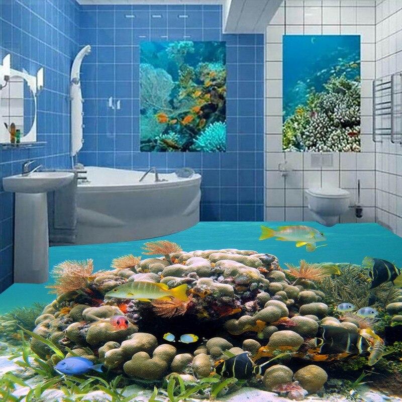 ФОТО Free Shipping 3D Underwater world dolphin floor painting background wall self-adhesive bathroom lobby bedroom flooring mural