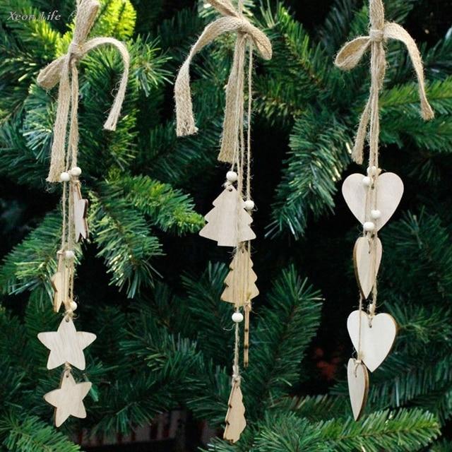ISHOWTIENDA 1PC 42*5*5cm Christmas Wood Chip Tree Ornaments Xmas Hanging Pendant Decoration Gifts