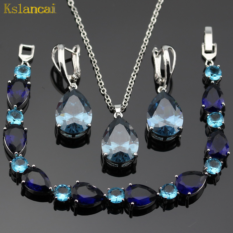 Lan Hot Selling Choker Stone Blue Aaa Zircon Sliver Color Jewelry Sets Necklace&pendant