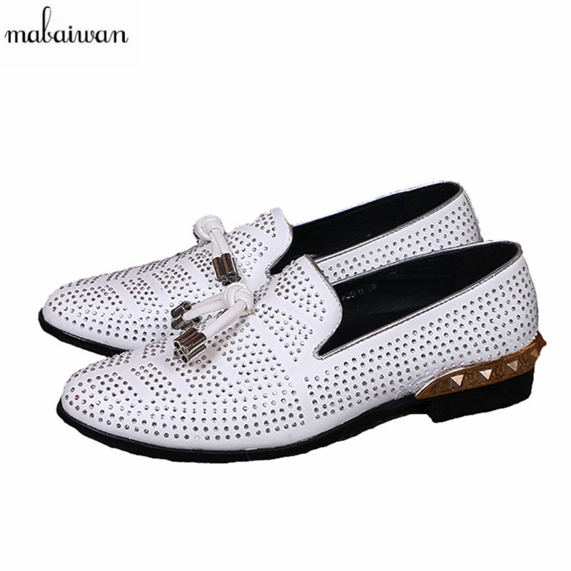 Mabaiwan Fashion Rhinestone Men Casual Shoes White Studded Loafers Genuine Leather Mens Wedding Dress Shoes Espadrilles Flats handmade mens dress shoes italian leather studded flats loafer shoes men casual shoes fashion spiked loafer 35 46