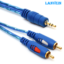 New Lanvein 2rca to 3.5mm male aux cable gold plated 3.5 jack audio rca cables headphone aux jack splitter for iphone