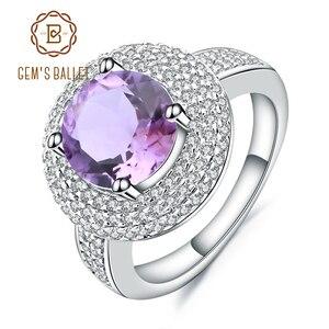 Image 1 - Gem ballet s ballet 2.66ct natural ametista anel de pedra preciosa 925 prata esterlina noivado cocktail anéis para mulheres jóias finas