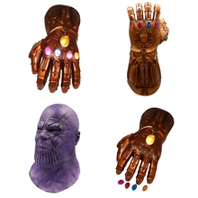 The Avengers 4 Endgame Thanos Mask+Glove Infinity Gauntlet Cosplay Costumes Stones War Led Glove Kids Adult