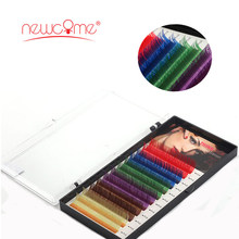 NEWCOME 1cases,6 Colors Rainbow Colores Individual Eyelash Extension Premium soft natural cilios Eye Lashes Makeup Professionals(China)
