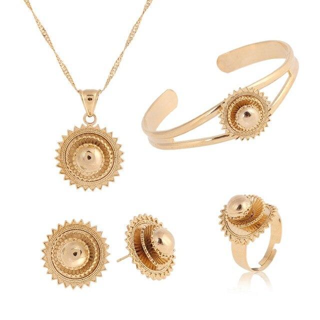 2017 Ethiopian Wedding Jewelry sets gold Ethnic Necklaces Habesha