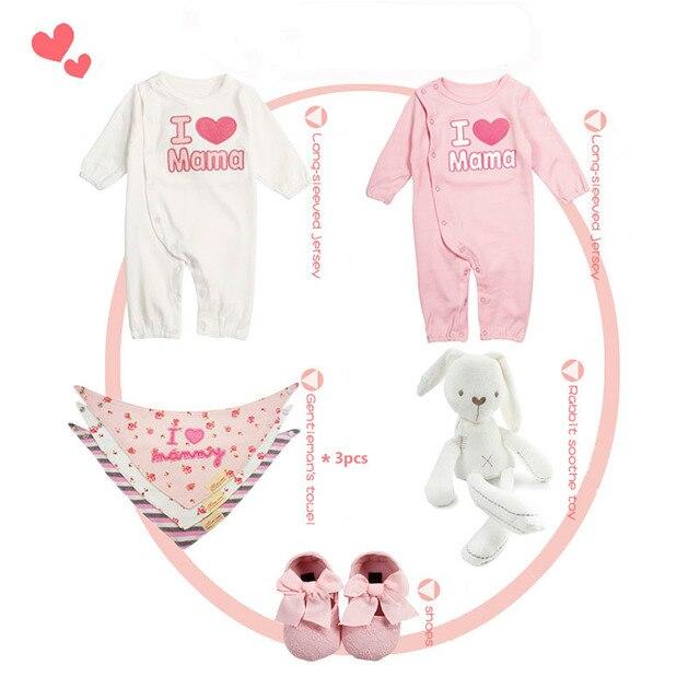 772bf33b9 Baby Newborn Clothes Romper Sets Boys Girls Cotton Jumpsuit Bibs ...
