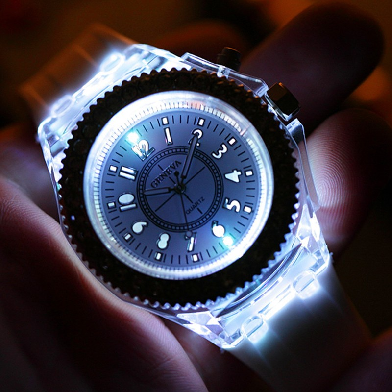 Sports Waterproof LED Watches Unisex Geneva 2020 Fashion Sport Quartz Luminous Silicone Strap Couples Watch Luxury Dress Clock