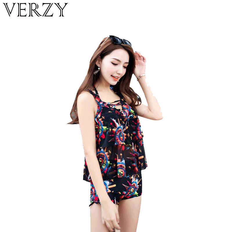 VERZY 2018 New 3 Pieces Swimsuit Women Swimwear Sex Push Up Padded Bikini Blouse Tankini Set Print Bright Color Backless Shorts