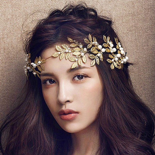 baroque jewelry 2016 new vintage gold leaf pearl headband hair accessories bridal headwear party wedding hair