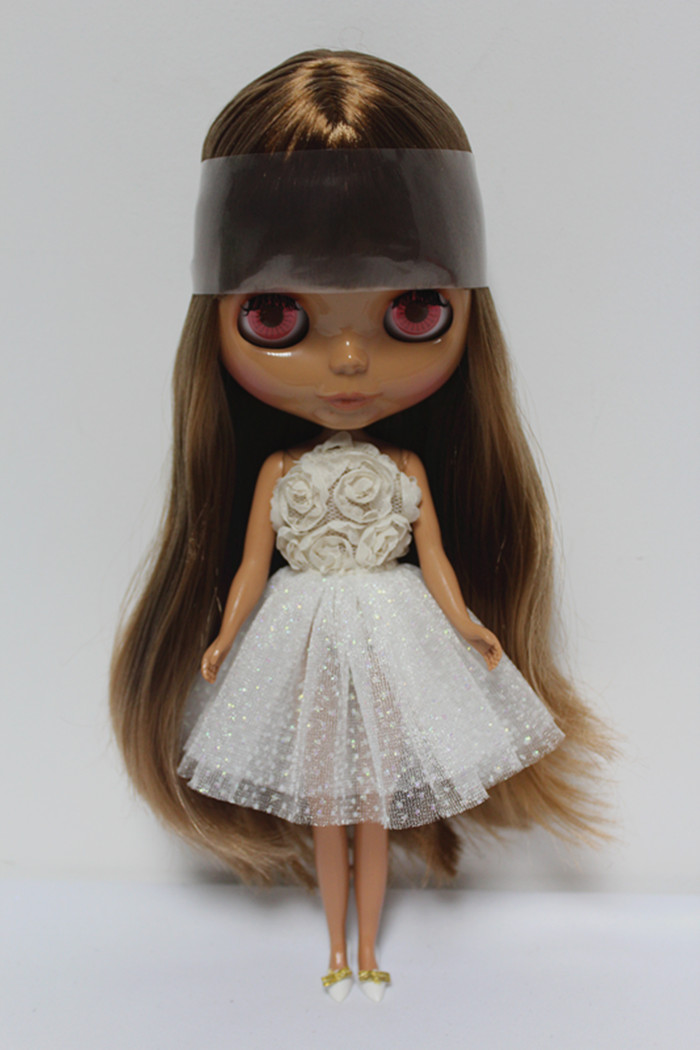 Blygirl Blyth doll Light brown bangs straight nude doll 372BL549 ordinary body 7 joints black skin for their own change makeupBlygirl Blyth doll Light brown bangs straight nude doll 372BL549 ordinary body 7 joints black skin for their own change makeup