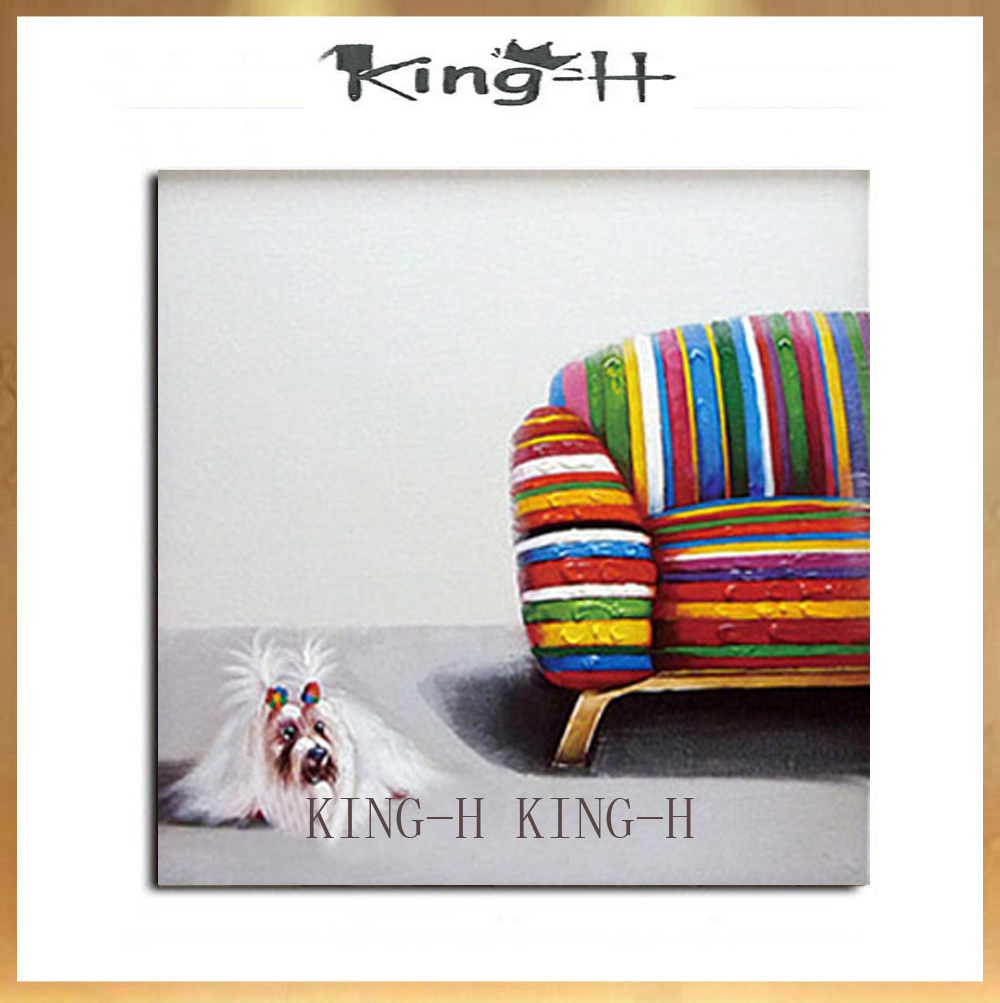 Animal hat dogs of various modern hand-painted oil painting draft quality frameless decorative sofa decorate children room hall