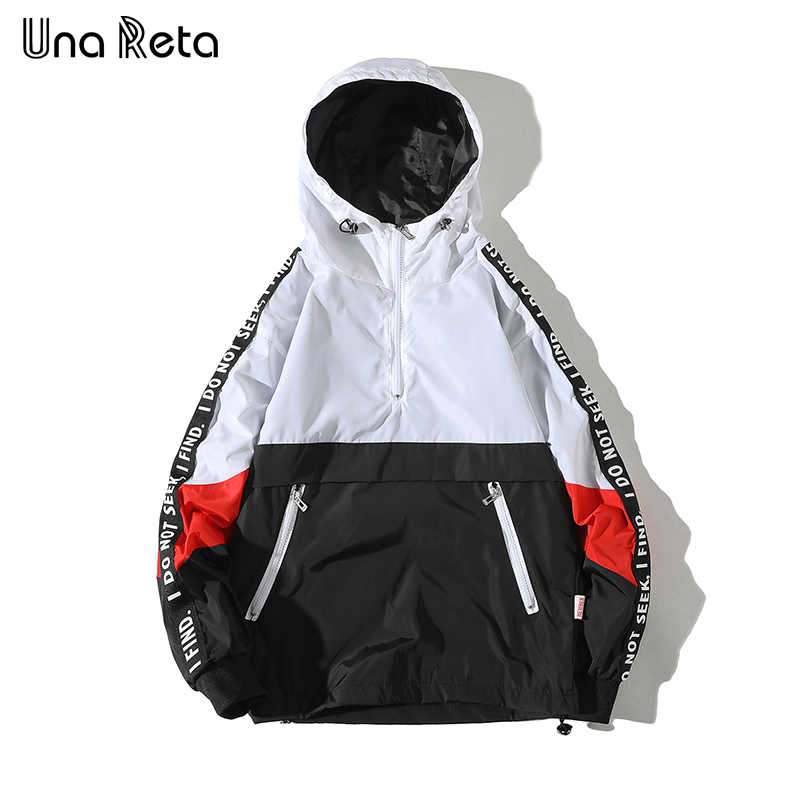 Una Reta Hooded Patchwork Color Block Pullover Tracksuit Coat Hip Hop Streetwear