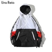 Una Reta, куртки с капюшоном, мужские, новинка, пэчворк, цвет, блок, пуловер, куртка, модный спортивный костюм, пальто, для мужчин, хип-хоп, уличная куртка, для мужчин