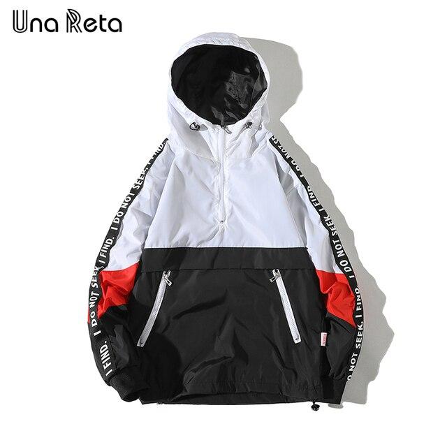 Una Reta Hooded Jackets Men New Patchwork Color Block Pullover Jacket Fashion Tracksuit Coat Men Hip Hop Streetwear Jacket Men