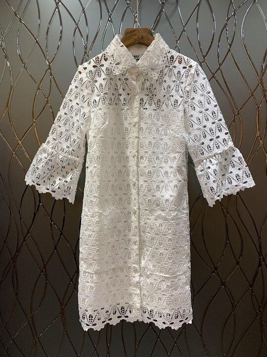 Couleur Bordée Nouvelle Robe D'eau Soluble Revers Vêtement 2019 303 Rues Net Femme Mode Pour htQrxsdC
