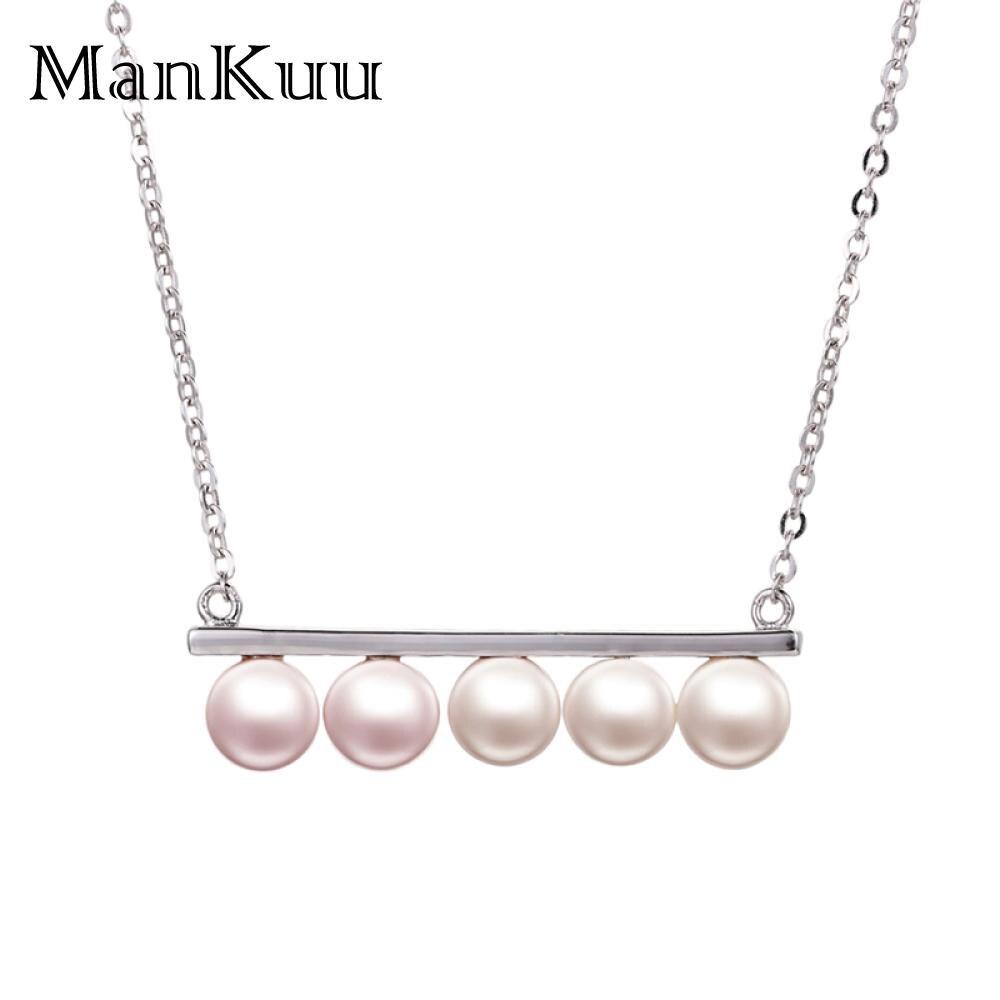 ManKuu mode collier de perles d'eau douce Design Unique 5 perles 6-7mm perle ronde 925 pendentif en argent Sterling colliers pour les femmes