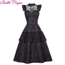 Belle Poque, ретро, черное, стимпанк, готическое платье,, с оборками, с высоким воротом, на шнуровке, для женщин, летнее, Свинг, Винтаж, викторианский стиль, панк, платья
