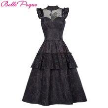 Belle Poque Retro Black Steampunk Gothic Dress 2017 Ruffle High-Neck Lace Up Women Summer Swing Vintage Victorian Punk Dresses